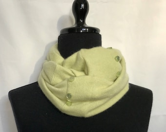 Citrus Green  Infinity Cashmere Wool Scarf made from an Upcycled Sweater