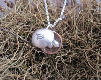 Bird Nest Necklace - Small Locket - Hand Stamped Necklace - Family Tree Necklace -  Locket Necklace - Nest Egg Necklace