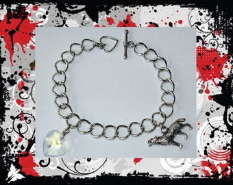 Vampire Charm Bracelet, Crystal Heart and Silver Wolf Charm and a FREE Twilight Button
