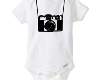 baby boy onesie, vintage camera onesie