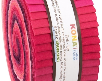 Kona Cotton Fragrant Fuchsia Palette JELLY ROLL from Robert Kaufman - 40 pieces (2.8 yards)
