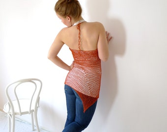 Orange Mesh Halter Top - Crochet Fishnet Top  - Beach Cover Up - Summer Clothing - Cotton Top Size M - Asymmetrical Hem - Psytrance Clothing