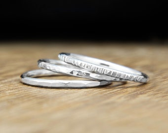 Stacking rings, set of rings, hammered silver rings, dainty silver ring, Sterling silver, textured rings, skinny rings, 925