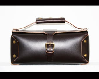 hard Leather Toiletry bag - cosmetic bag - travel bag by AlexMLynch - made in USA (one-of-a-kind)