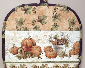 Fall Tea Cozy, Quilted Tea Cozy, Pumpkins, Acorns, Insulated Tea Cozy, Gift for Tea Lover, Quiltsy Handmade