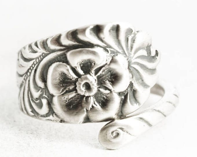 Forget Me Not Ring, Antique Spoon Ring Sterling Silver, Small Forget Me Not Flower Gift Under 50, Rococo Ring, Adjustable Ring Size (7044)