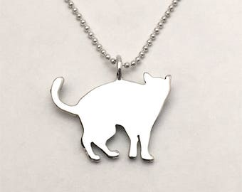 Cat Pendant made from Vintage Silver US Half Dollar Coin