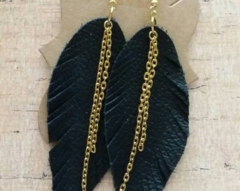 Leather Feather Earrings, Leather Earrings, Feather Earrings