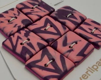 Handmade Square Buttons Pink and Purple 20mm