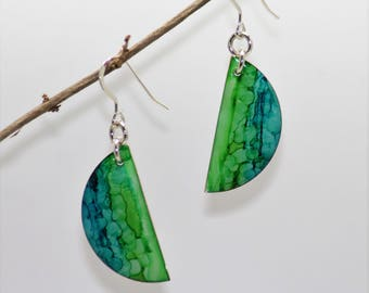 Lime Green and Blue Hand Painted Earrings