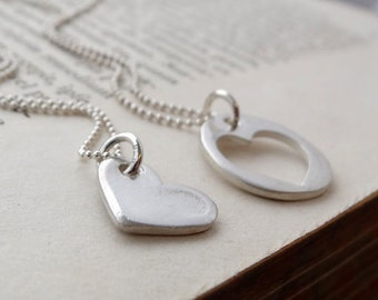 Handmade recycled fine silver mother and daughter / best friends necklace set