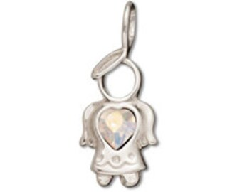 Sterling Silver 11x25mm Birthstone Angel - April - Crystal AB Crystal (sku 593 - CHSS-ANG-04)