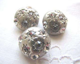 Vintage Buttons Metal Rhinestone Matching 3 Domed from AllieEtCie