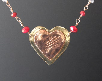 Scarred Heart Copper and Brass Necklace (MX-12001-002)