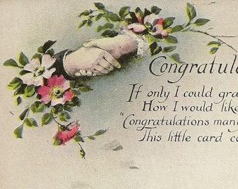 Congratulation Vintage Postcard Hands in Handshake With Floral Accents Congratulatory Verse 1921