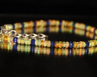 Lapis Lazuli Bracelet, Yellow Opal Bracelet, Ethiopian Opal Bracelet, Dainty Beaded Bracelet, Skinny Beaded Bracelet, Beaded Anklet 0016