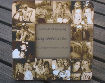 """Bridesmaid Collage Picture Frame, Custom Collage Maid of Honor Frame, Personalized Sister Gift, Best Friend Gift, Parent Gift, 8"""" x 8"""" Frame"""