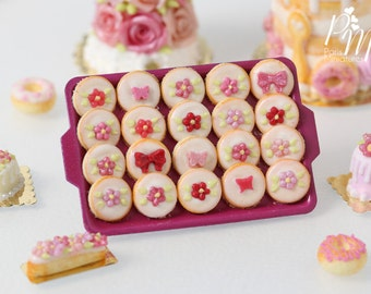 MTO-Pink-Themed Round Iced Butter Cookies on Dark Pink Metal Baking Tray - 12th Scale Miniature Food (Pink Collection 2016)