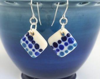 Small Drop Earrings, Blue Earrings, Handmade Ceramic Earrings, Porcelain Earrings, Surgical Steel or Sterling Ear Wires, Pottery Earrings