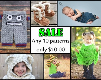 SALE **Any 10 Individual CROCHET PATTERNS from Newborn Knots.