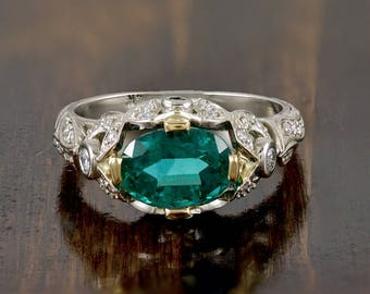 Vintage, 14k, Gold, White Gold, Columbian, Emerald, Diamonds, Ring, Fine Jewelry
