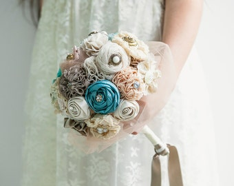 Fabric Bridal Bouquet, Wedding Fabric Bouquet DEPOSIT