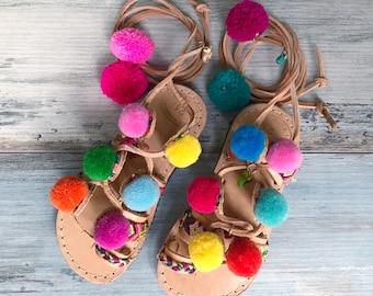 "Kids sandals ""Peony"" mini, Pom pom sandals, Boho sandals, Greek sandals, leather sandals, Handmade sandals, colorful sandals"