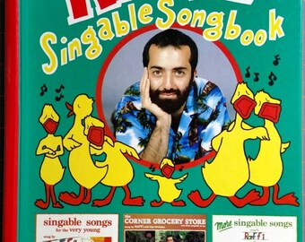 Raffi Singalong Songbook, 1980's Music Book, Collection of 51 Songs, Vintage Children's Book, Easy-to-read words, music and chord for guitar