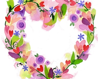 Heart Wreath Print high quality giclee art floral heart Lauren Ingraham