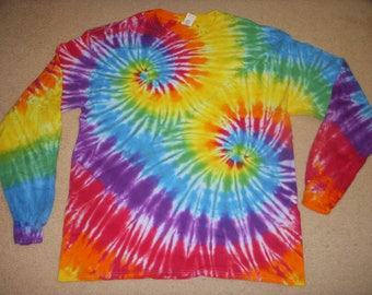 XL long sleeve tie dye tshirt, double spiral, extra large