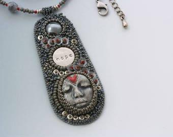 Bead Embroidery Necklace. Hope. Face cabochon. Vintage Swarovski cab.