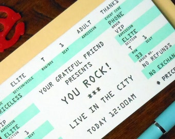 letterpress thank you rock concert ticket greeting card pack of 6 you rock mint black white
