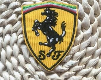 Ferrari Embroidered Iron On Patch, Ferrari sewing patch, Ferrari patch