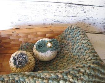 Baby Photo Prop Layering Blanket Basket Stuffer Fluff Knit Crohet Newborn Infant Camouflage green headbands