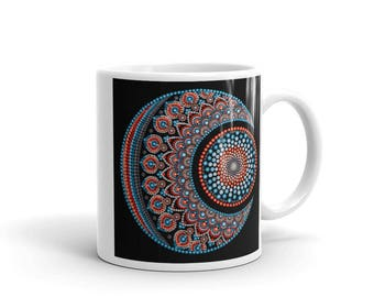 Mug, mandala, mandala art, dot mandala, dot mandala art, boho, boho art, coffee mug, gift, co-worker, friend, mom, wife, yoga, meditation