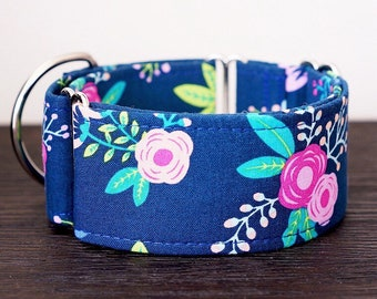 Martingale collar, Greyhound Collar, Galgo Collar, Saluki Collar, Sighthound Collar, Floral Collar, Navy Blue Martingale, Floral Martingale