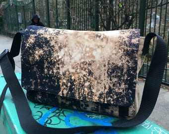 "Hand Treated 14"" Black Canvas Messenger Bag, Medium size Canvas Courier Cross body Schoolbag, Canvas Laptop Bag"