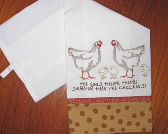 Yiddish Proverb Chicken and Eggs Embroidered, Fabric-Banded Tea Towel