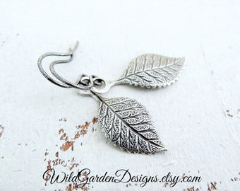 Tiny Silver Leaf Earrings Antiqued Silver Leaves Rose Leaves Silver Dangles Dainty Leaf Drops Wedding Jewelry Simple Natural Leaf Dangles