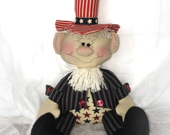 Uncle Sam Doll  | Patriotic decor | 4th of July decor | Red white blue decoration | Primitive Patriotic doll | Americana decor |  USA decor