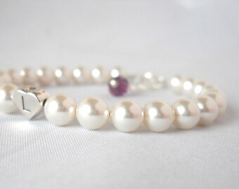 More Colors Baby Girl Baptism Flower Girl First Communion Pearl Bracelet with Heart Initial B021