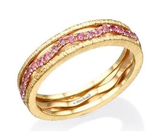Pink Sapphire ring,  Yellow gold ring, sapphire ring, wedding band, rings, Wedding ring, Art deco ring, Gem Ring, Gemstone Ring, Band ring