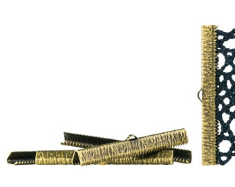 50mm or 2 inch Antique Bronze Ribbon Clamps End Crimps - Artisan Series - 500 pieces