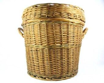 Wicker hamper,Basket, wicker basket, vegetable basket, round basket, medium basket, fruit basket,