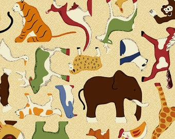 RJR Fabrics Doodle Zoo Cream Animal Toss Cotton Fabric by the Yard 9080J-2
