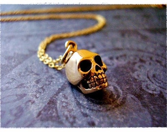 Gold Skull Necklace - Bronze Skull Charm on a Delicate 14kt Gold Filled Cable Chain or Charm Only
