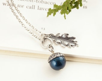 Silver Acorn Pendant - Teal Blue Pearl Acorn Necklace - Silver Acorn Charm Necklace - Woodland Wedding Jewelry - Gift For Her