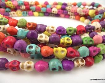 Rainbow Skull Beads, Dia De Los Muertos, Skull Beads, 8 x 7 x 6 mm, 16 Inch Strand, Whole Strand