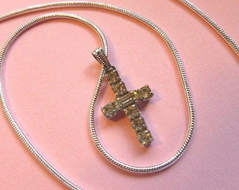 Designer PETITE STERLING Silver Rhinestone Cross, Signed Vintage Cross, Vintage Cross with 925 Sterling Neck Chain