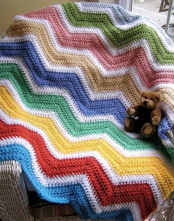 neue Chevron Zick Zack Baby Decke afghanischen wickeln häkeln